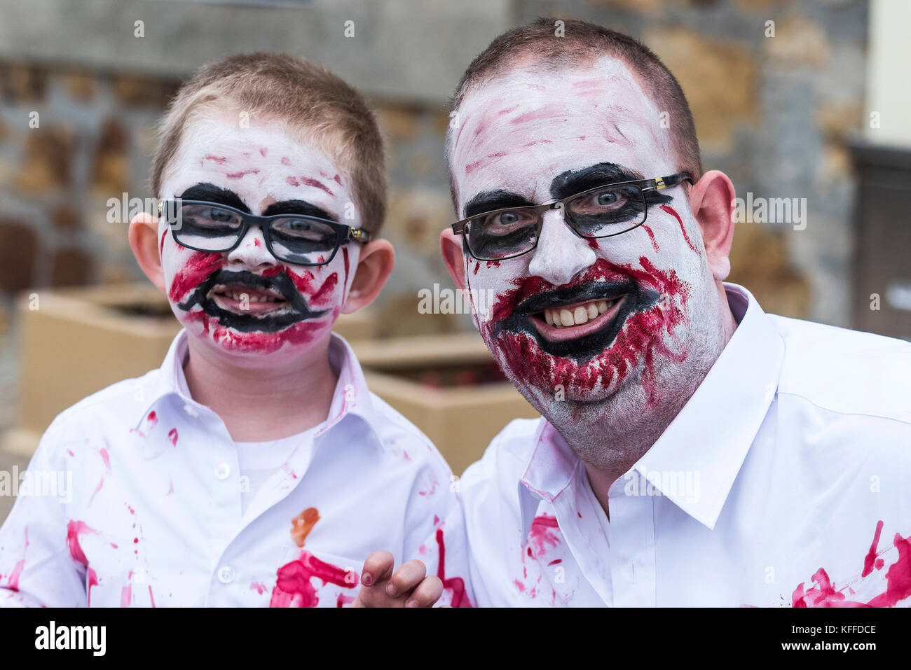 Fistral Beach; Newquay, Cornwall. 28th October, 2017. Hundreds of zombies invade Newquay in Cornwall. The - Stock Image