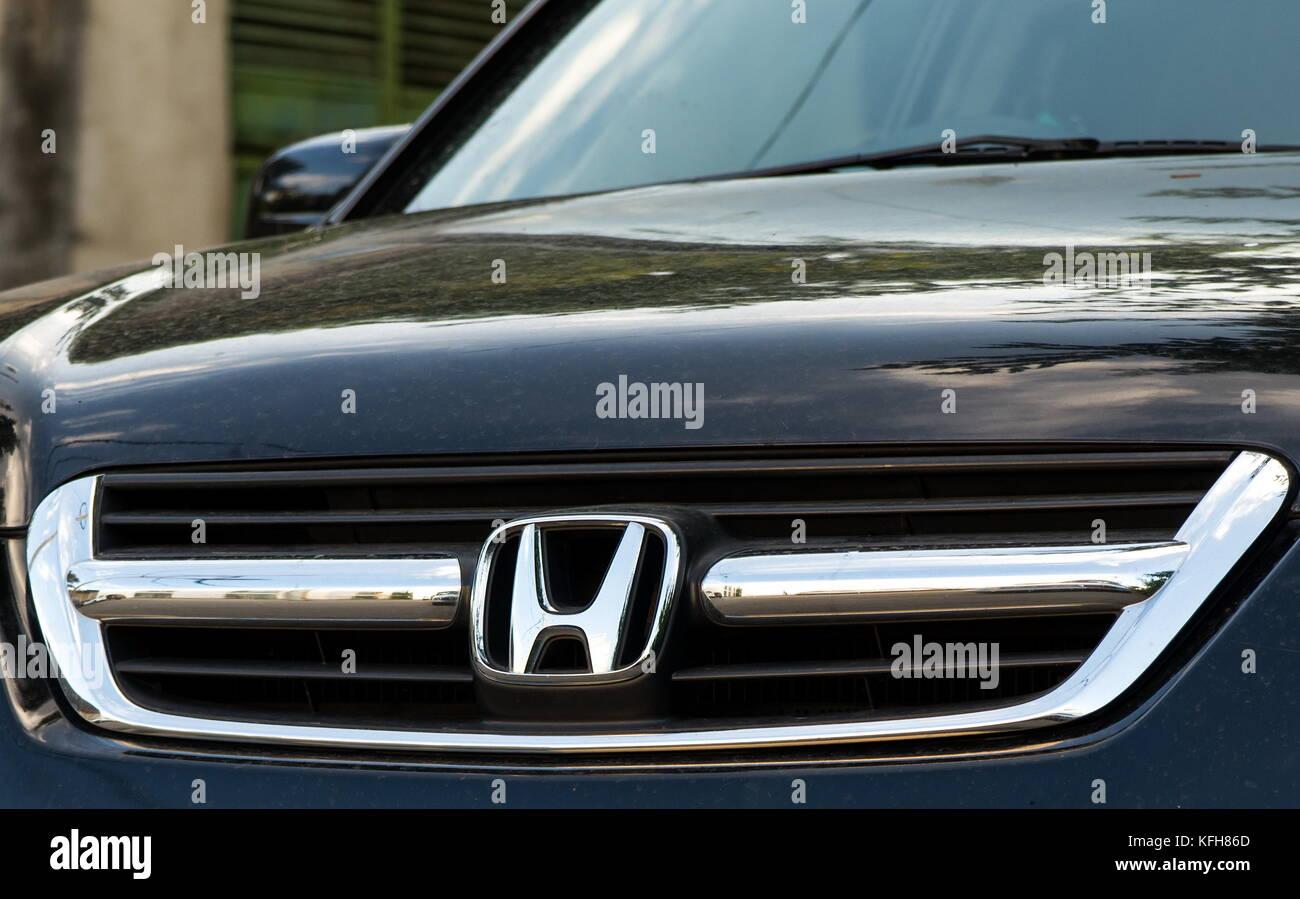 Tbilisi, Georgia - July 21, 2017: Honda logo closeup on the HRV car - Stock Image