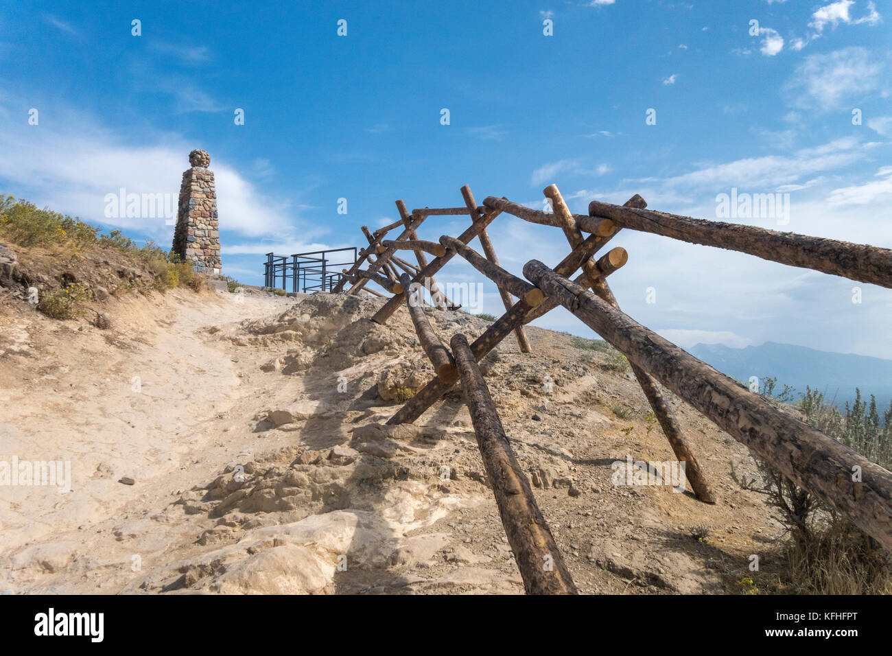 Ensign Peak Nature Park. Trail leading to the Historic Ensign Monument overlooking Salt Lake City. Stock Photo