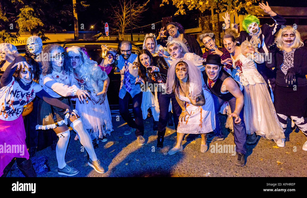 Zombies at Parade of Lost Souls, Commercial Drive neighbourhood, Vancouver, British Columbia, Canada. - Stock Image
