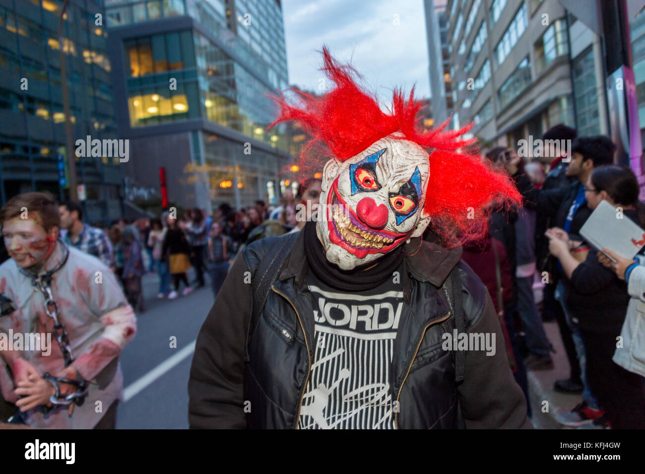 Montreal, Canada - October 28, 2017: Scary clown taking part in the Zombie Walk in Montreal Downtown - Stock Image
