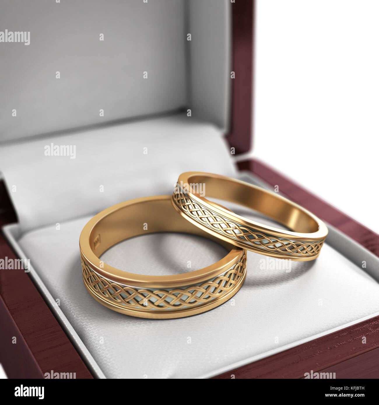 Wedding Bands Rings In The Red Box Jewelry Preparation 3d Render: Red Wedding Ring Box At Reisefeber.org