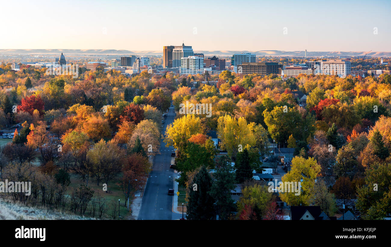 early morning light in fall on the city of boise idaho stock photo