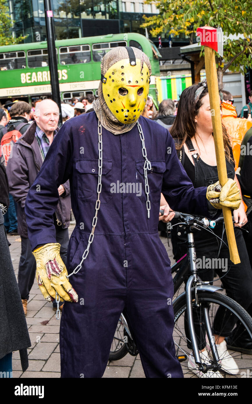 Bristol, UK. 28th October, 2017. People dressed as zombies partake in Bristol zombie walk 2017 ready for halloween - Stock Image