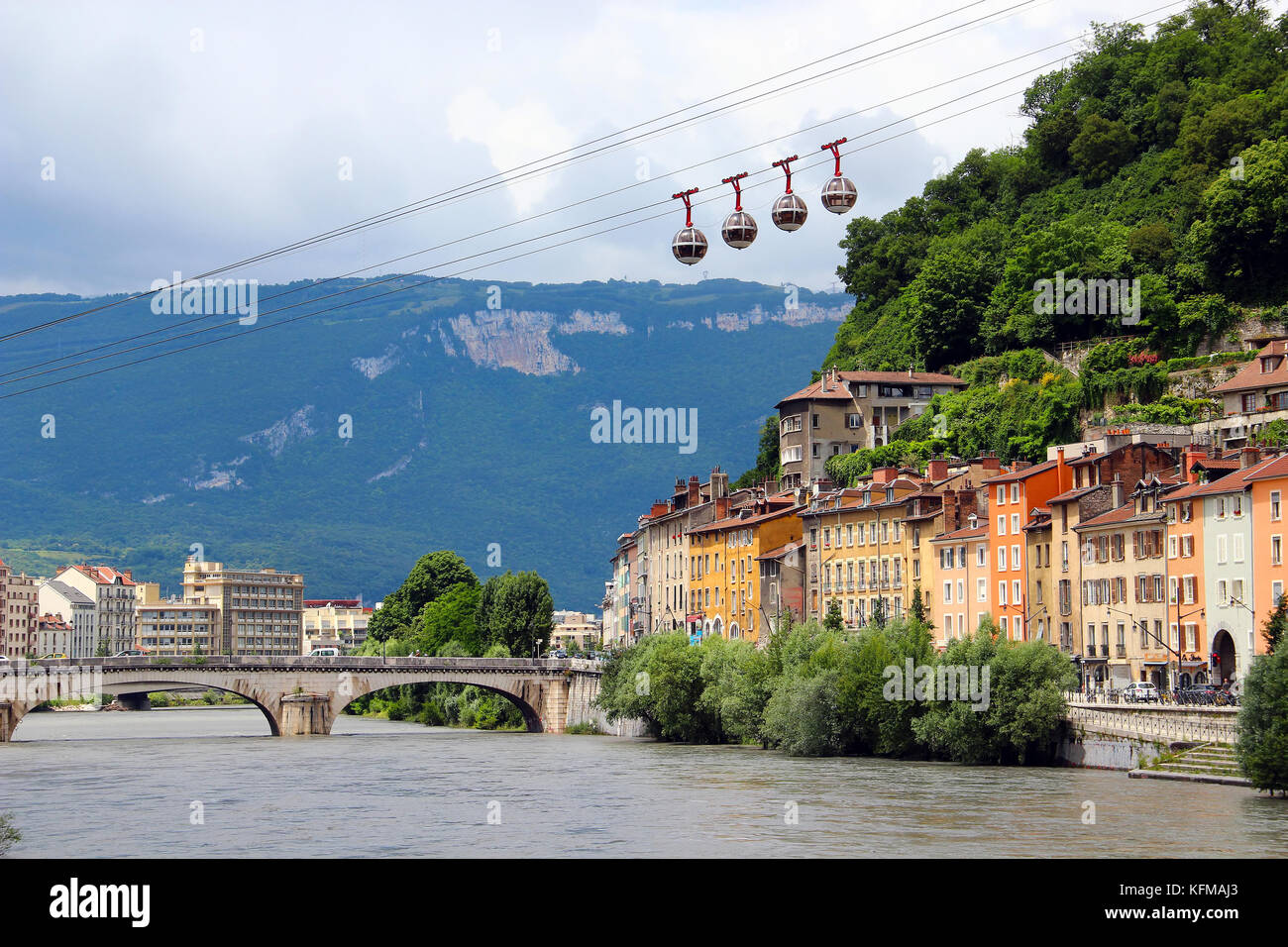 Isere river and cable car in the center of Grenoble, France Stock Photo
