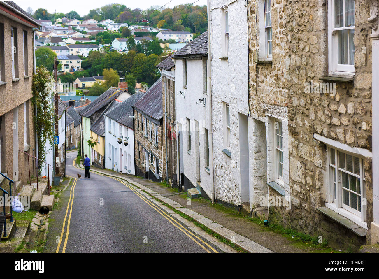 Quaint street - the quaint St Gluvias Street in Penryn in Cornwall. - Stock Image