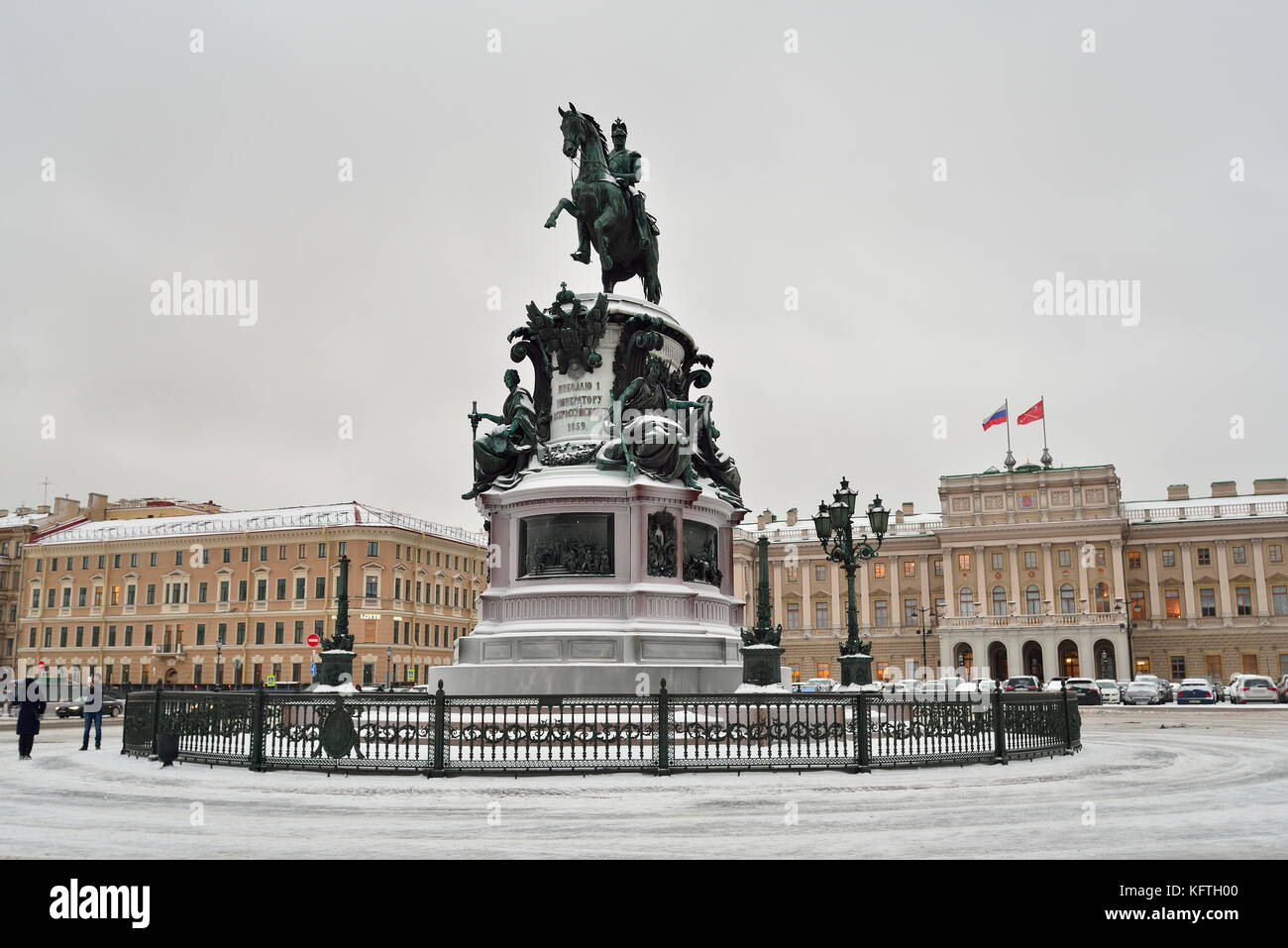 Monument to Nicholas 1 St. Isaac's square in winter. - Stock Image