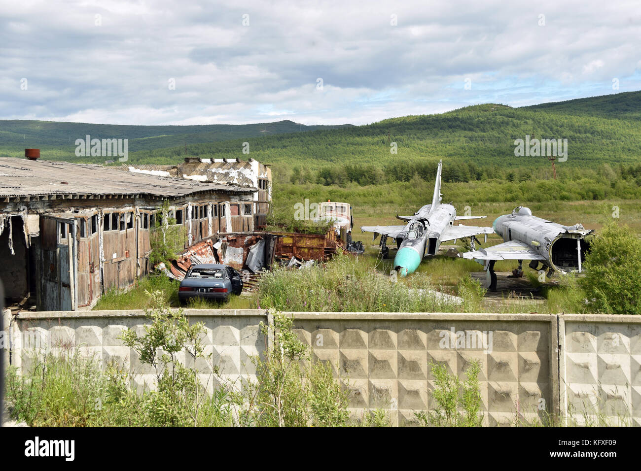 The former airport of Magadan, the capital of the Kolyma region in the far north-eastern Siberia. Two scrapped fihters Stock Photo