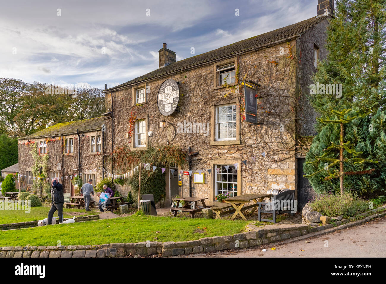 North Yorkshire. Malham district. The Lister Arms hotel Malham village.Stock Photo