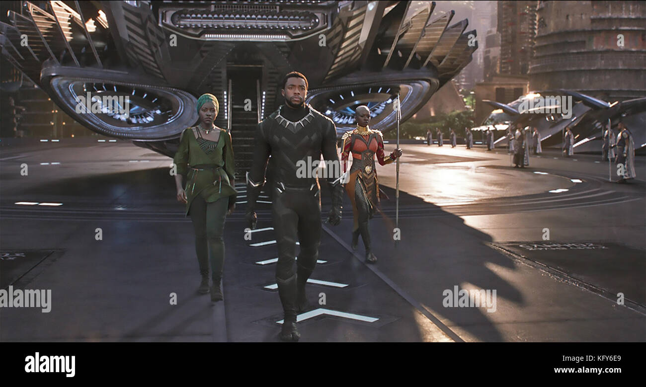 BLACK PANTHER 2018 Marvel Studios/Walt Disney Pictures film with  Chadwick Boseman and Lupita Nyongo'o at left and Stock Photo