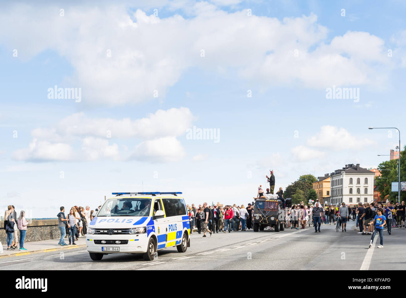 STOCKHOLM, SWEDEN – AUGUST 20, 2016: People dressed up as zombies participate in annual Zombie Walk parade in Stockholm, - Stock Image