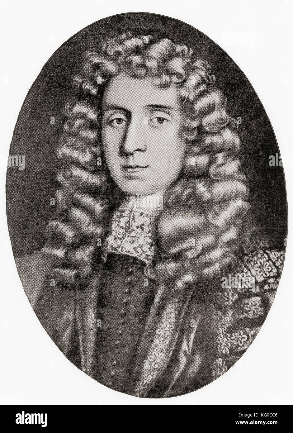 George Jeffreys, 1st Baron Jeffreys of Wem, 1645 –  1689, aka 'The Hanging Judge'.  Welsh judge and Lord - Stock Image
