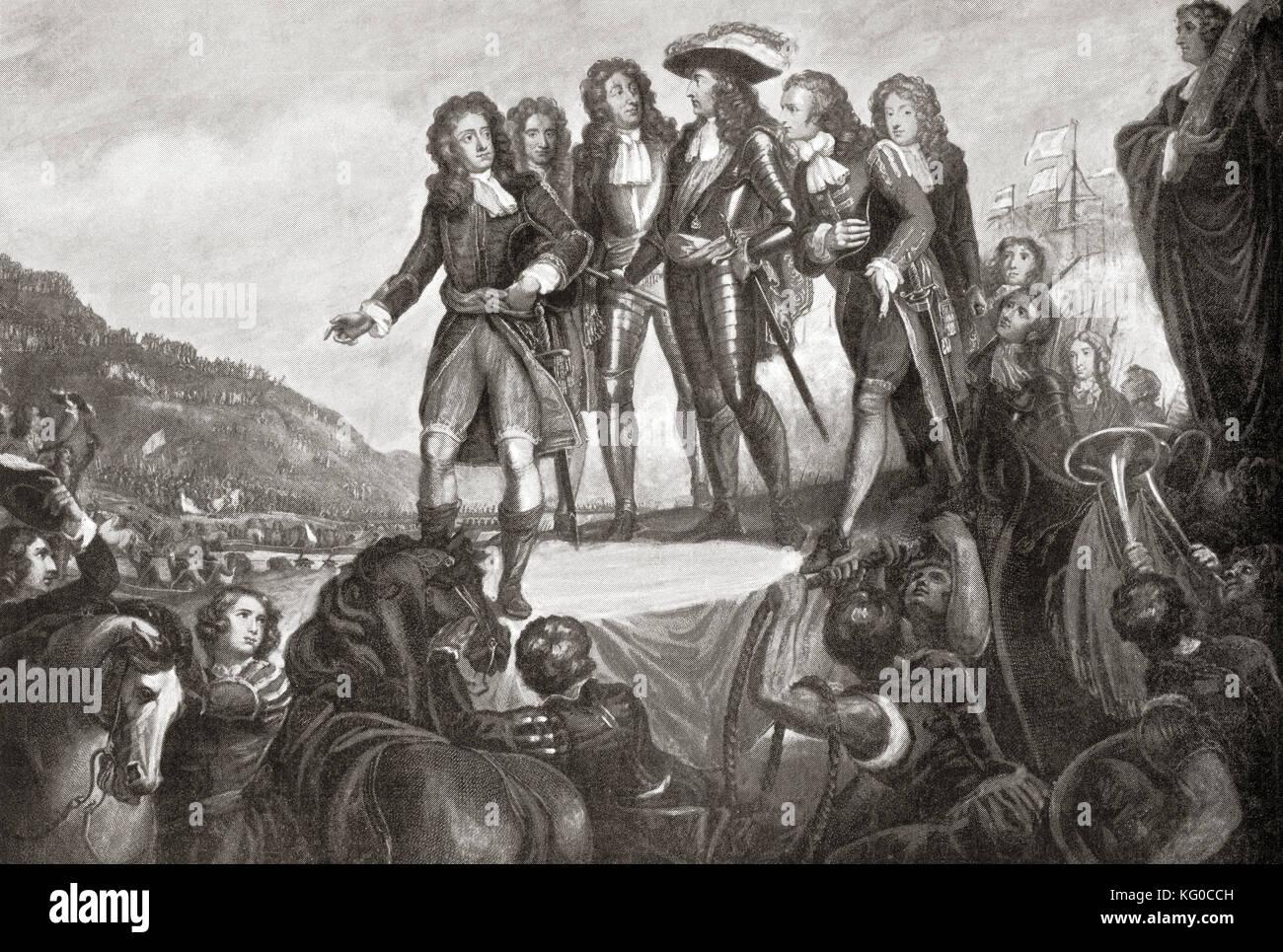 The landing of William of Orange in England in 1688. William III, 1650 to 1702. King of England and Ireland and, - Stock Image
