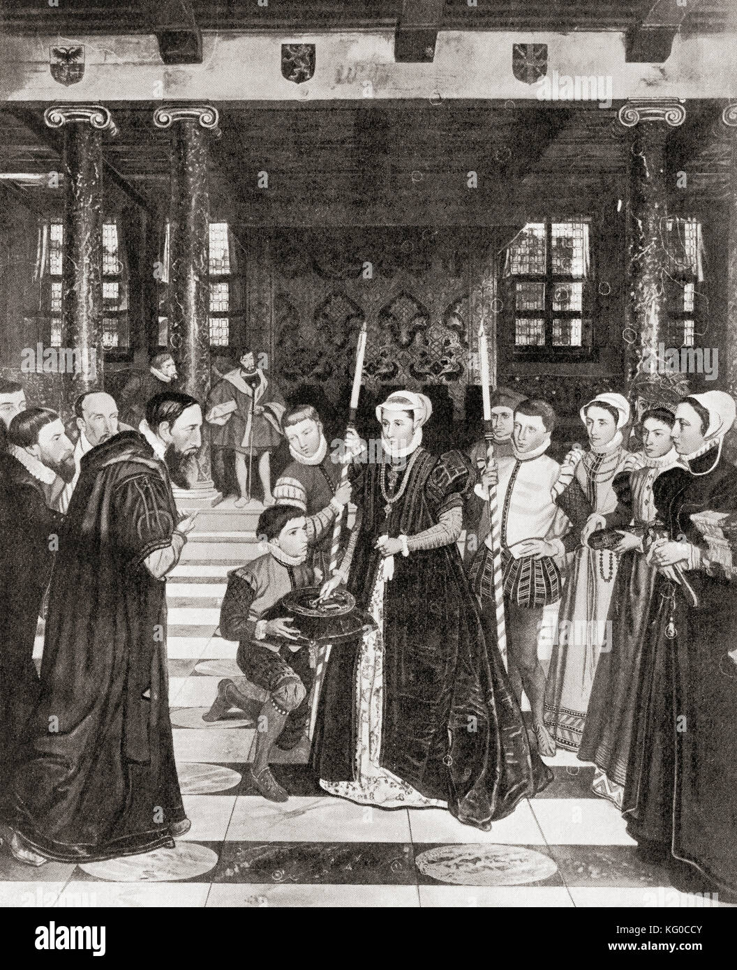 Margaret of Parma given the keys of Antwerp, Belgium, 1559.   Margaret of Parma, 1522 – 1586.  Governor of the Netherlands - Stock Image