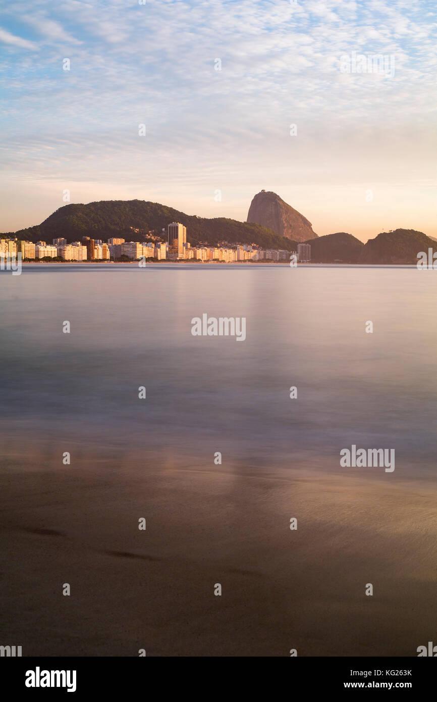 Copacabana beach and Sugar Loaf, Rio de Janeiro, Brazil, South America - Stock Image