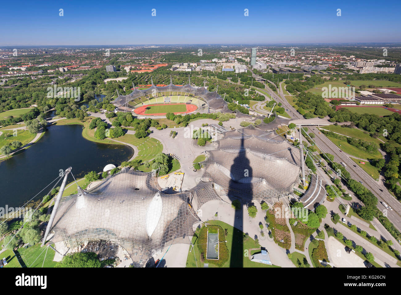 View from Olympic Tower (Olympiaturm) at Olympic stadium at Olympic Park, Munich, Bavaria, Germany, Europe - Stock Image