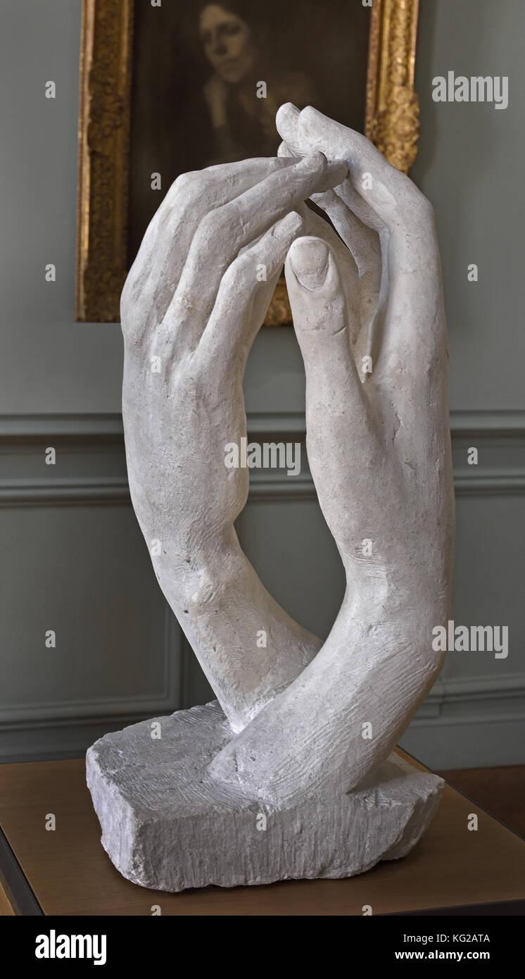 THE CATHEDRAL 1908 Stone H. 64 cm ; W. 29.5 cm ; D. 31.8 cm François Auguste René Rodin 1840 –1917 ( known - Stock Image