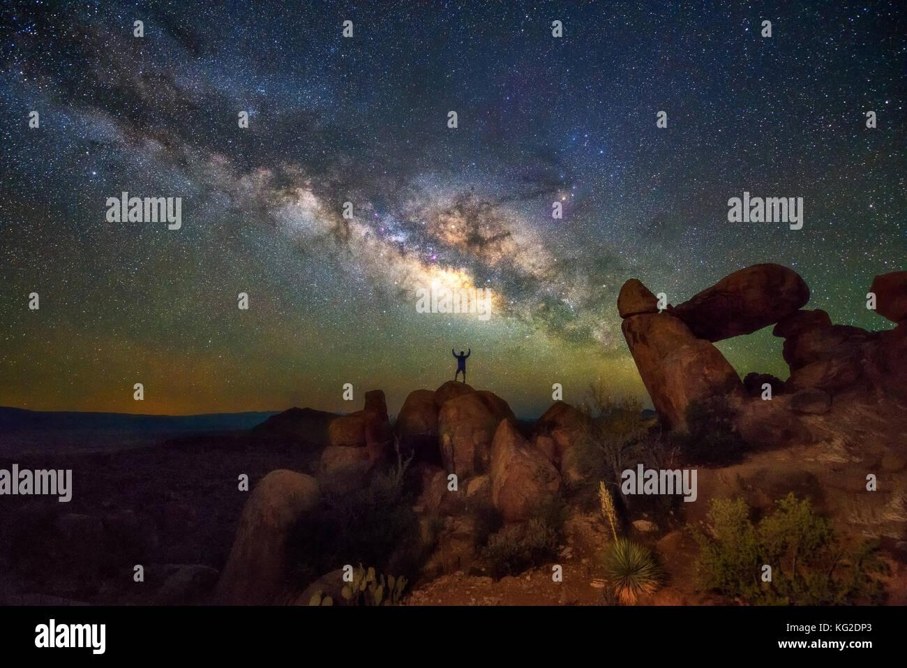 Milky way at Balanced Rock, Big Bend National park, Texas USA. Constellation and galaxy Stock Photo