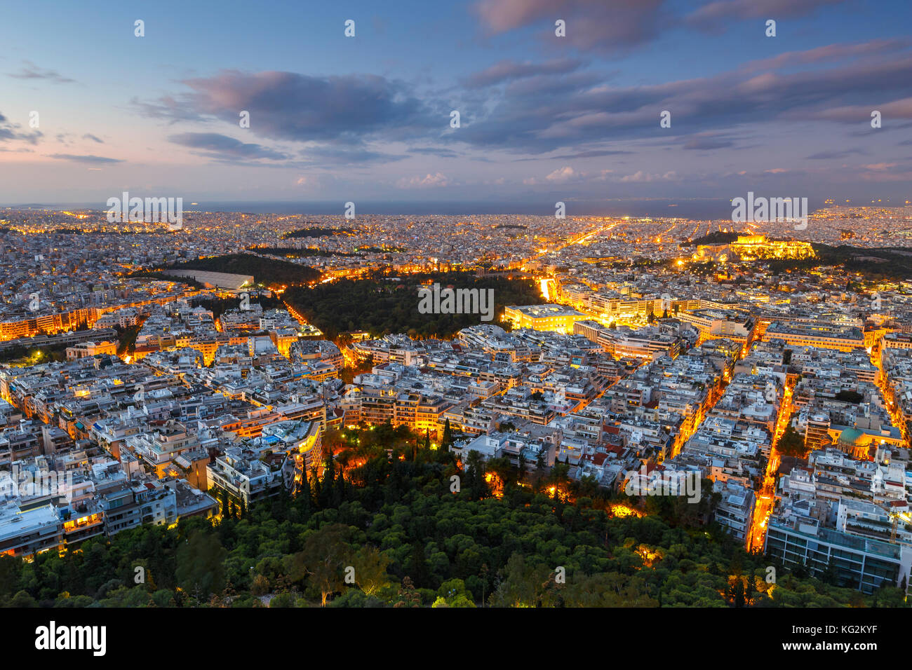 View of Acropolis and city of Athens from Lycabettus hill at sunrise, Greece. - Stock Image