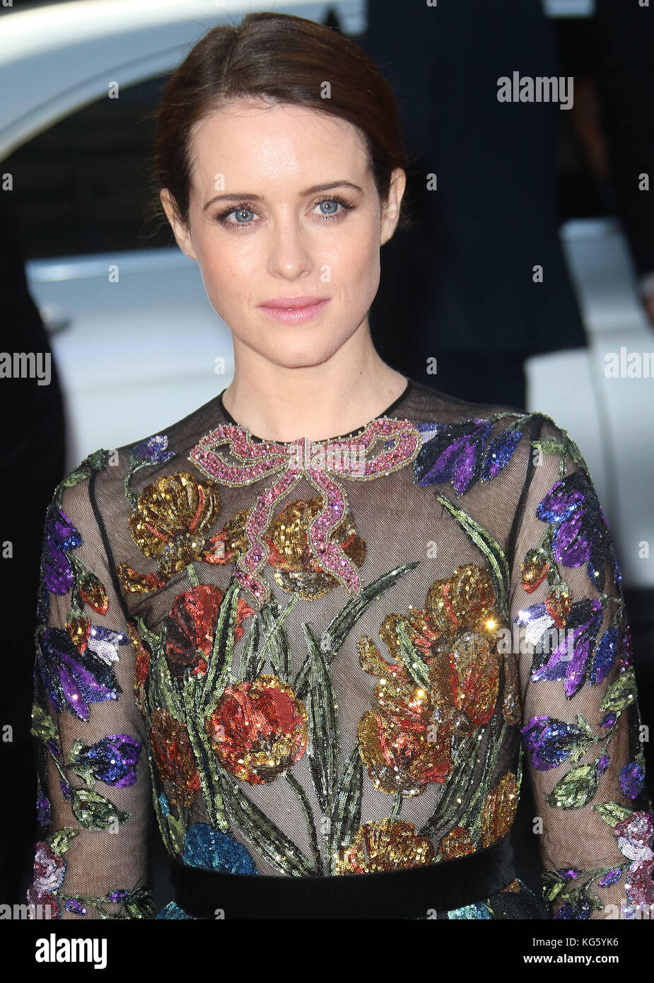 Oct 04, 2017 - Claire Foy attending 'Breathe' European Premiere, Odeon Leicester Square in London, England, - Stock Image
