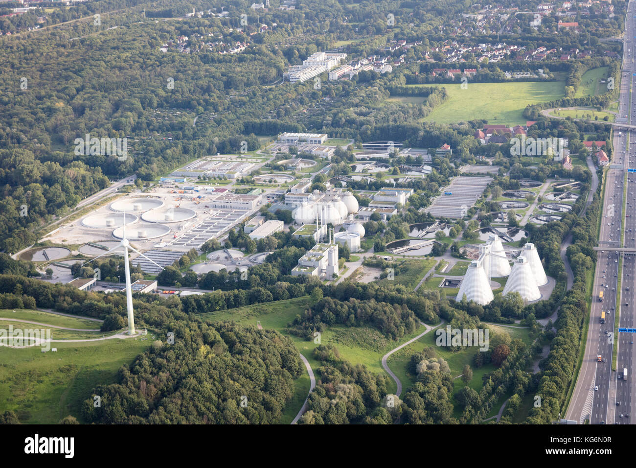 aerial view of the wastewater treatment plant Gut Großlappen, Freimann  district, Munich, Bavaria, Germany - Stock Image