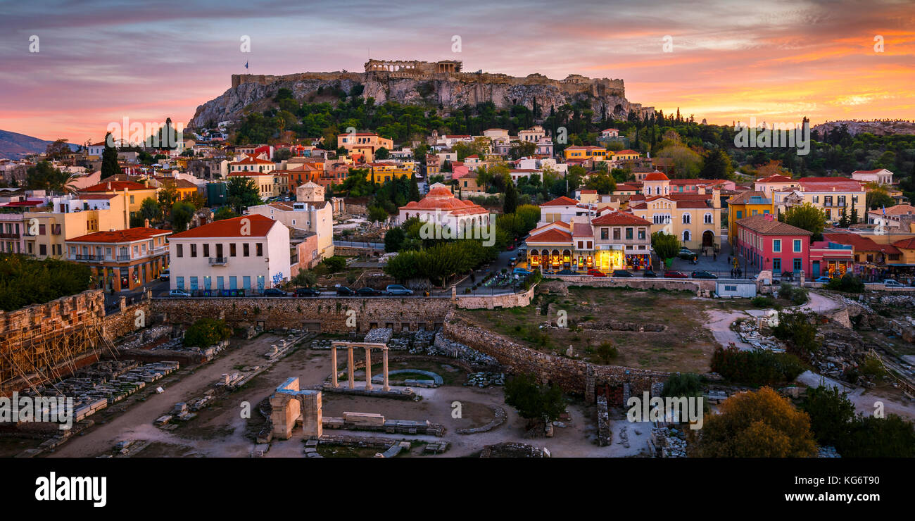 View of Acropolis from a roof top coctail bar at sunset, Greece. - Stock Image