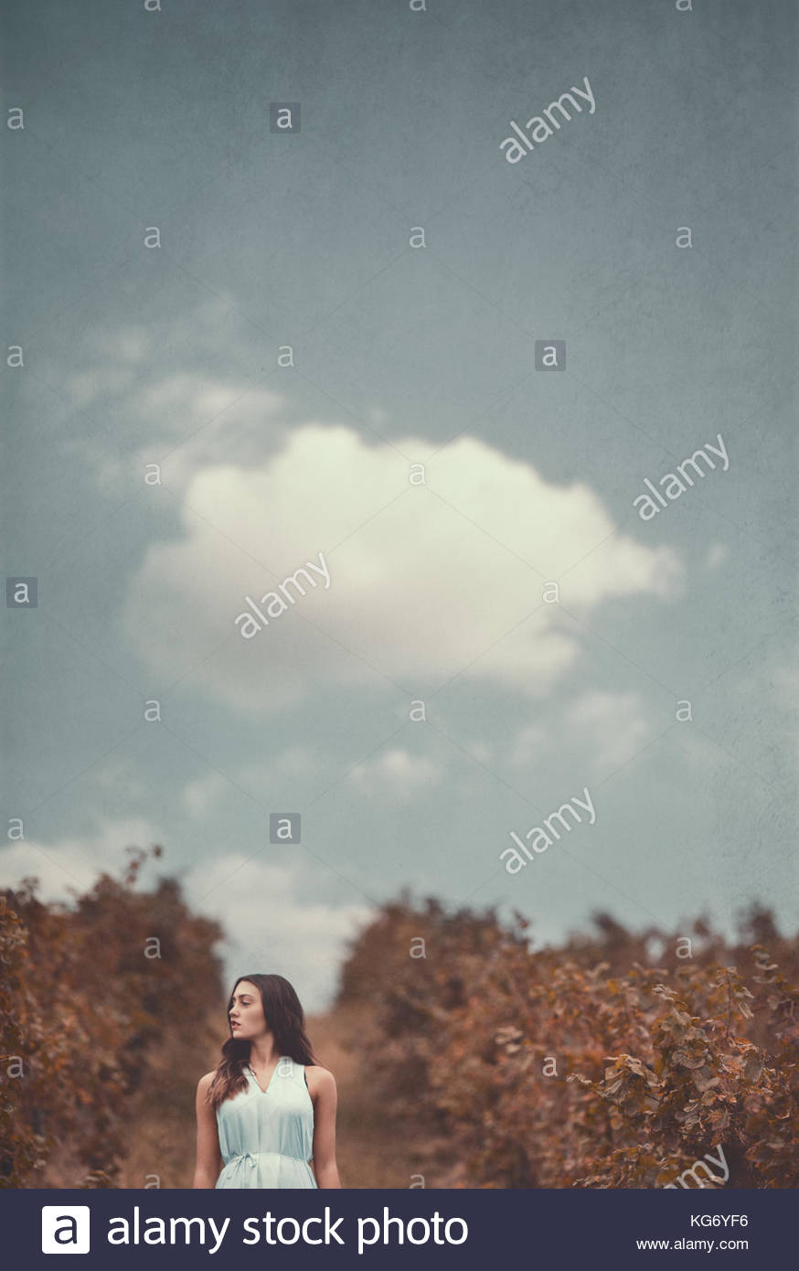 Girl Standing in a vineyard, in the countryside, lonely, blank look, blue dress - Stock Image