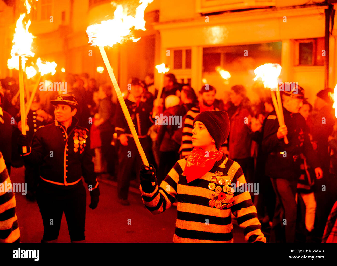 Lewes, UK - 4 November 2017: Participants from Commercial Square Bonfire Society in torchlit processions at Lewes - Stock Image
