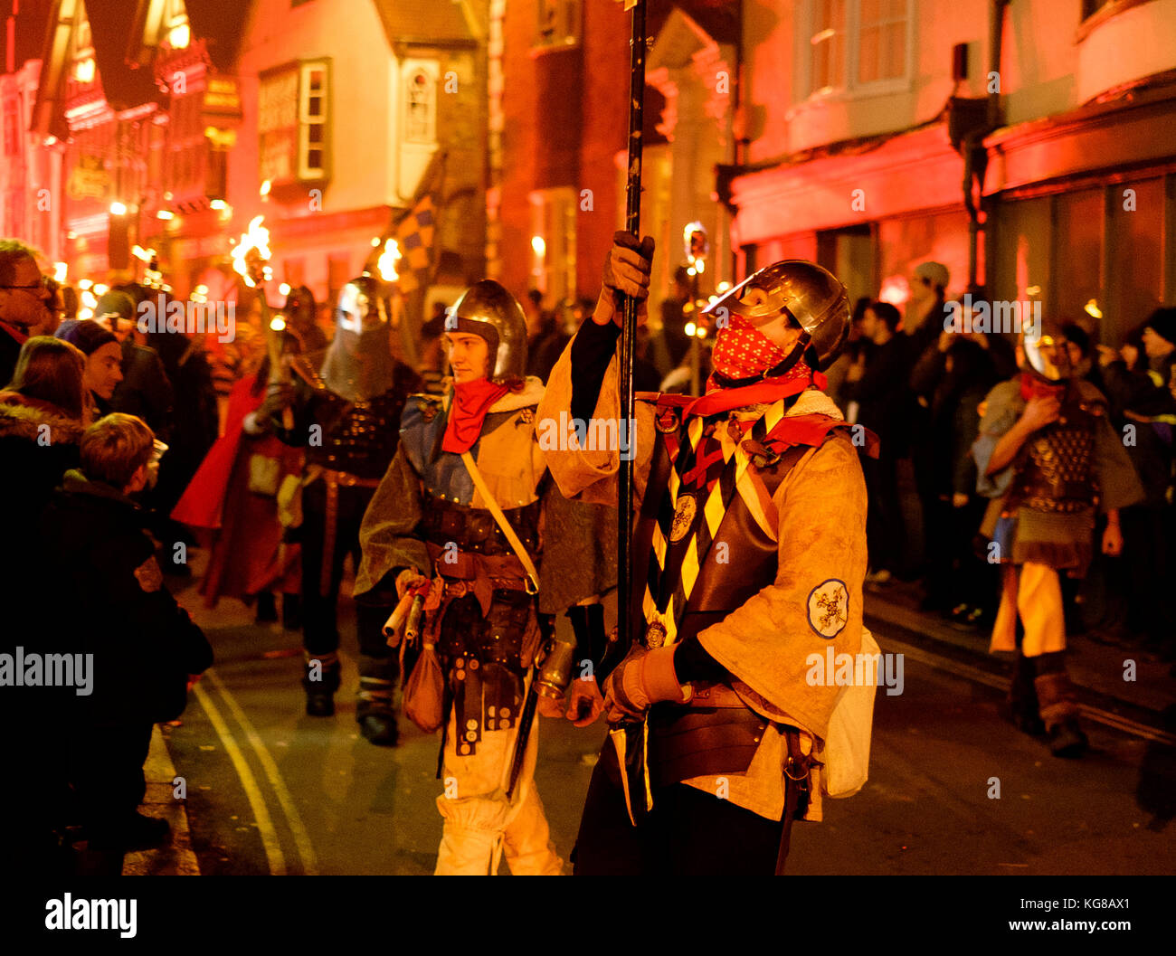 Lewes, UK - 4 November 2017: Participants from Borough Bonfire Society in torchlit processions at Lewes Bonfire - Stock Image