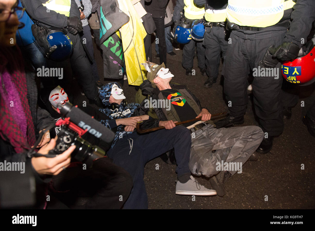 London, United Kingdom. 05th Nov, 2017. Million Mask March 2017 takes place in central London. Protesters block Stock Photo