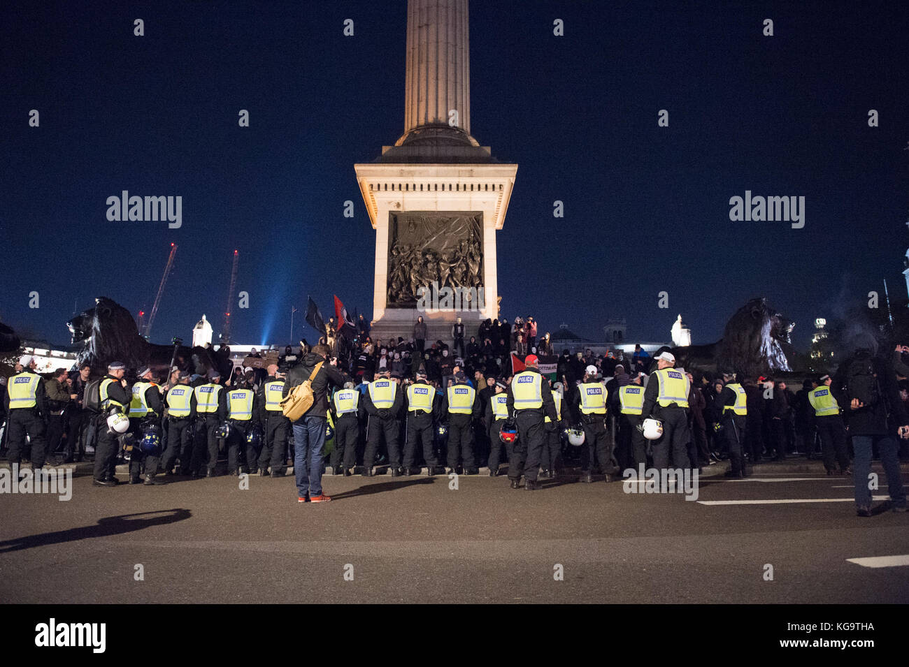 London, United Kingdom. 05th Nov, 2017. Million Mask March 2017 takes place in central London. Police form a cordon Stock Photo