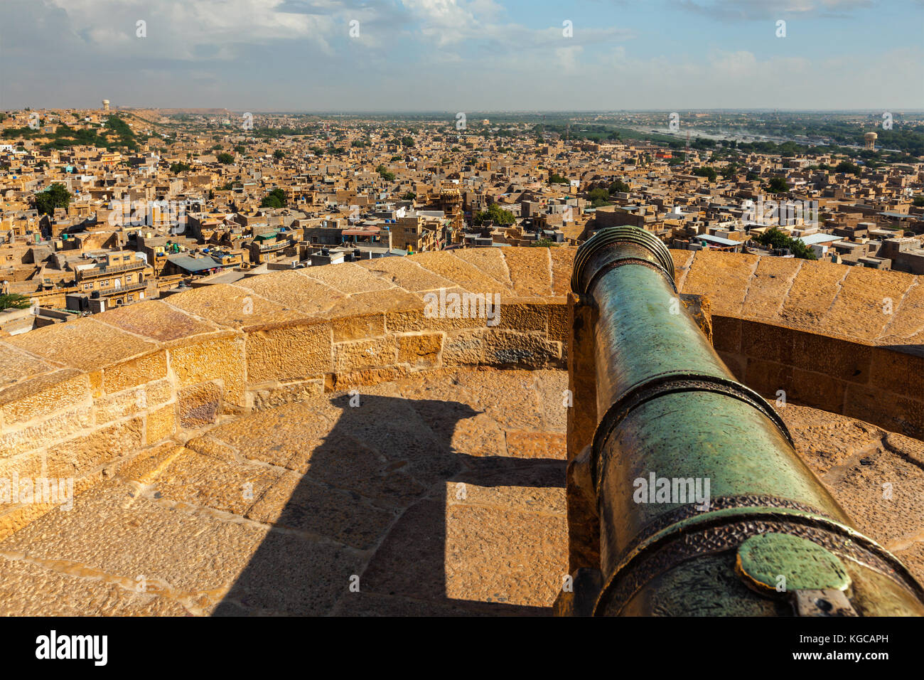 View of Jaisalmer city from Jaisalmer fort, Rajasthan, India - Stock Image