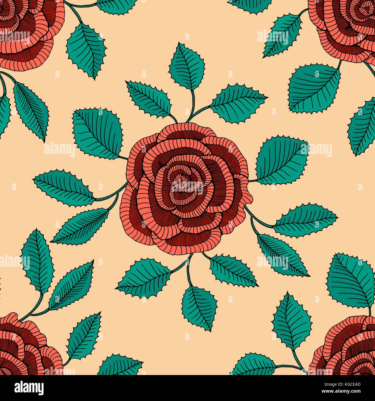 Freehand Drawing Roses Vector Illustration Seamless Pattern Stock