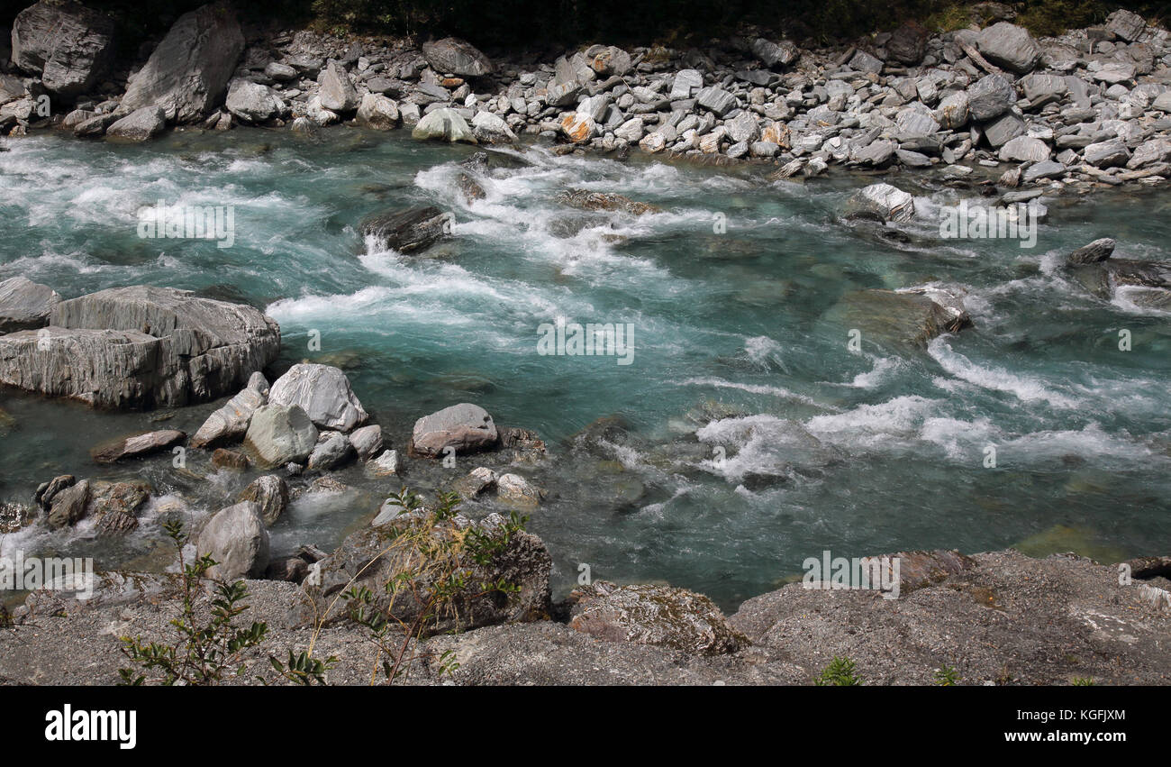 thunder creek falls in mount aspiring national park Stock Photo