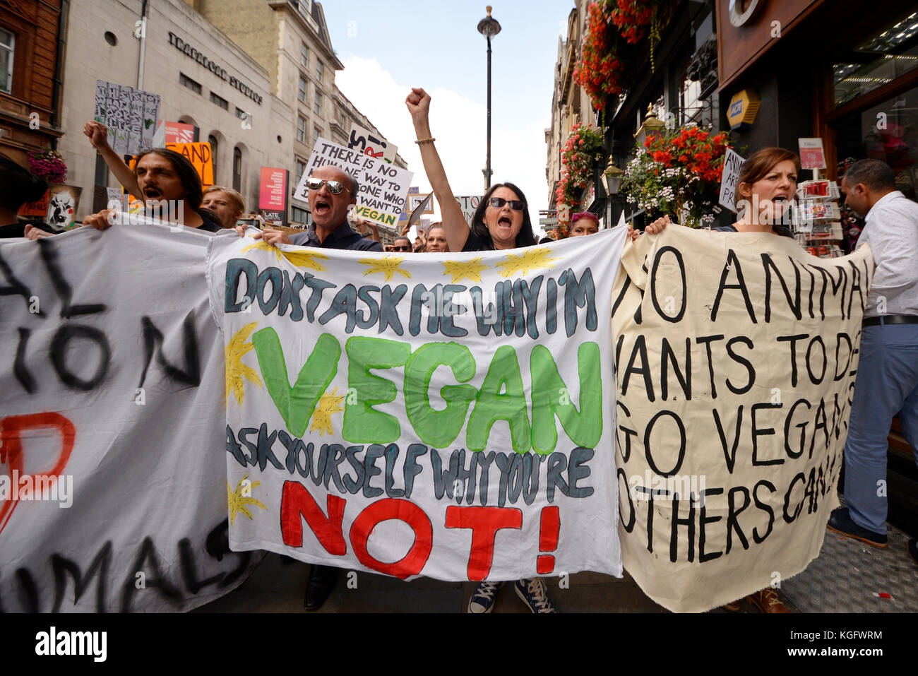 vegan-activists-shouting-and-chanting-while-marching-in-whitehall-KGFWRM.jpg