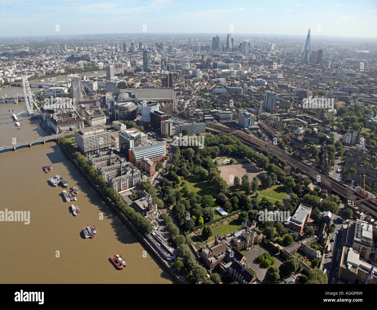 aerial view of Lambeth Palace & St Thomas' Hospital looking toward The City of London skyline, UK - Stock Image