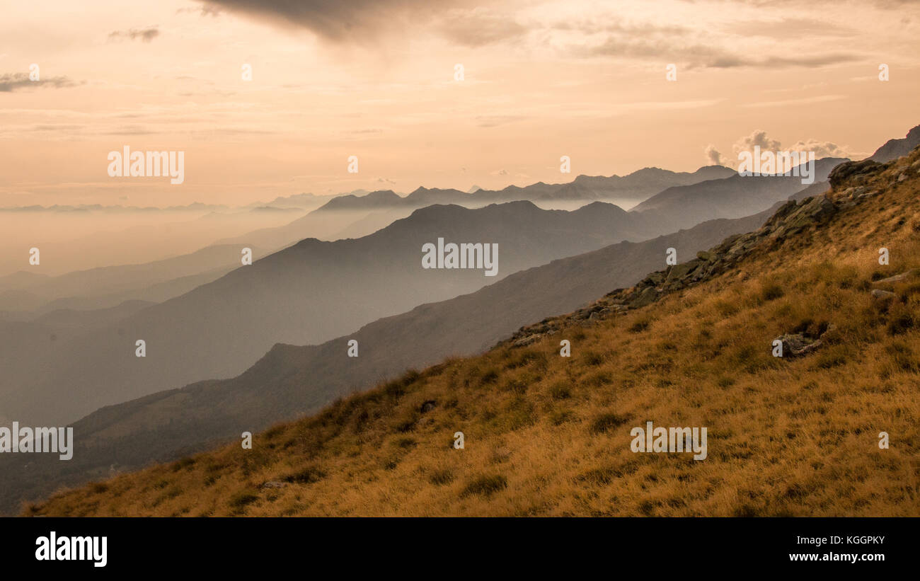 Mountain Layers Autumn View Alps of Piemonte Piedmont Italy Canavese Bella Dormiente - Stock Image