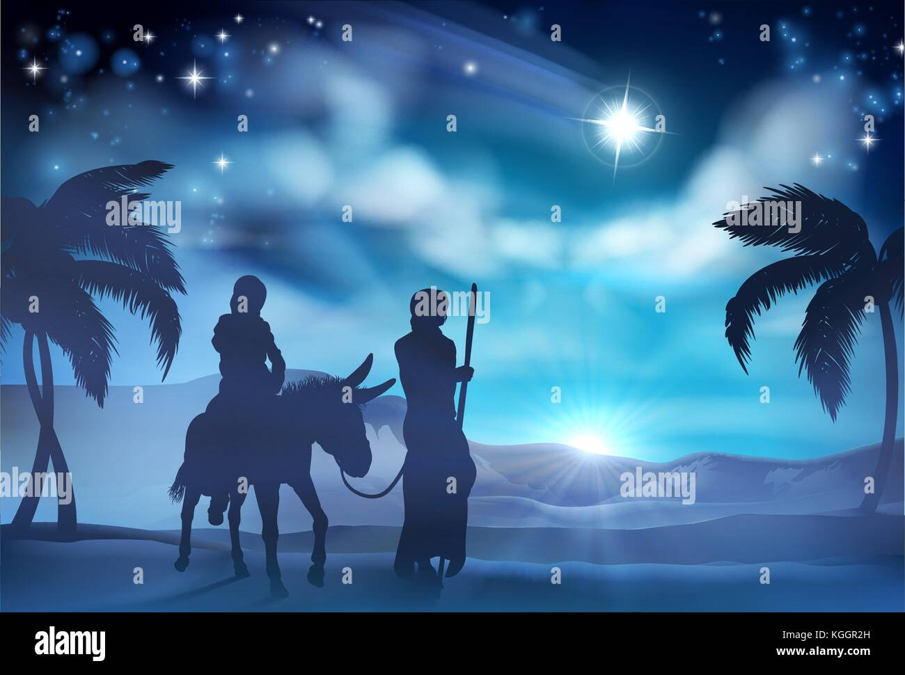 Mary and Joseph Nativity Christmas Illustration Stock Vector