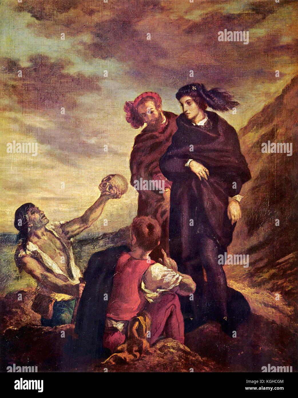 The gravedigger scene by Eugène Delacroix, 1839 - Stock Image