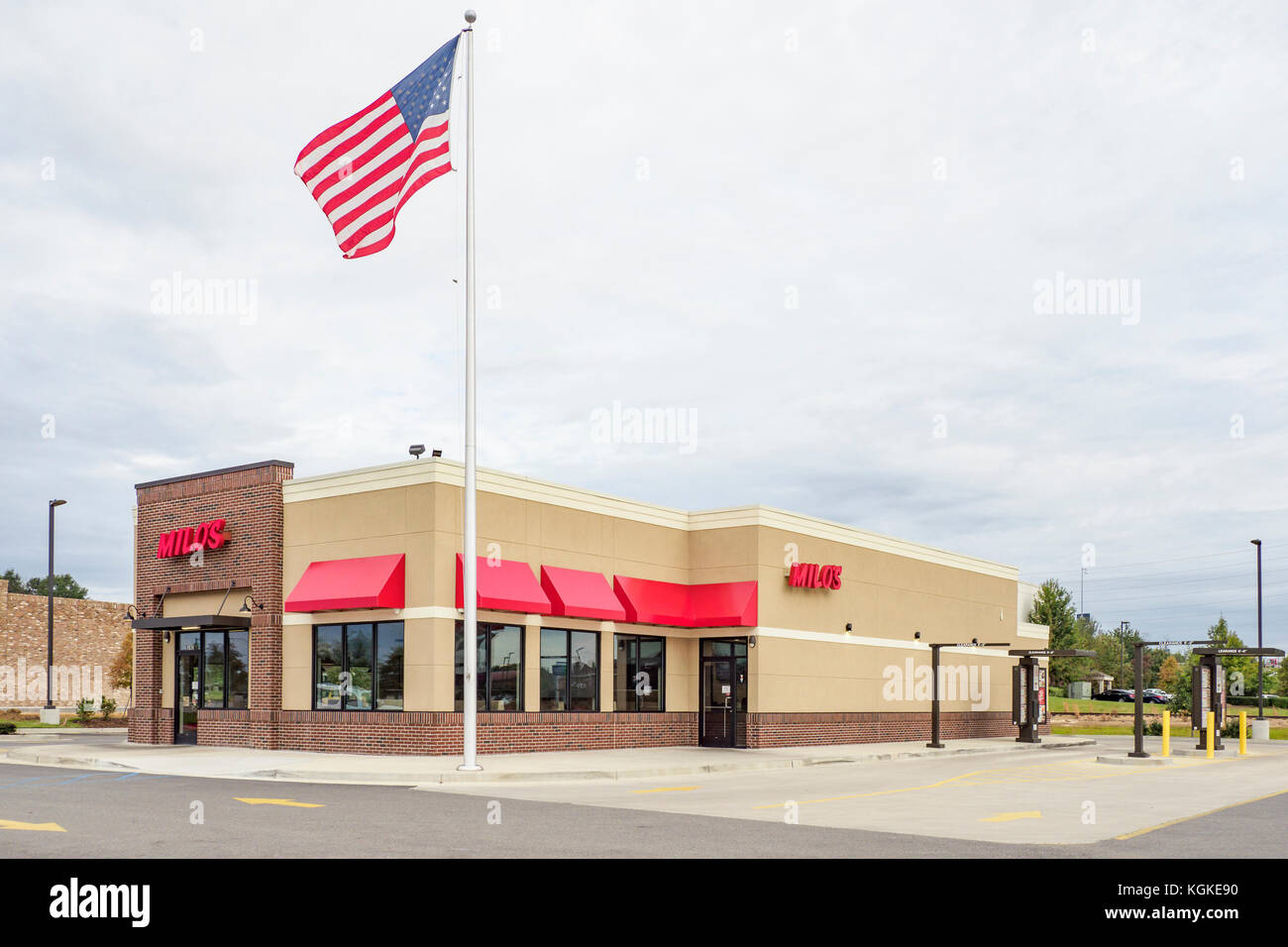 Milo's Hamburgers chain franchise hamburger fast food restaurant exterior in Montgomery, Alabama USA. Stock Photo
