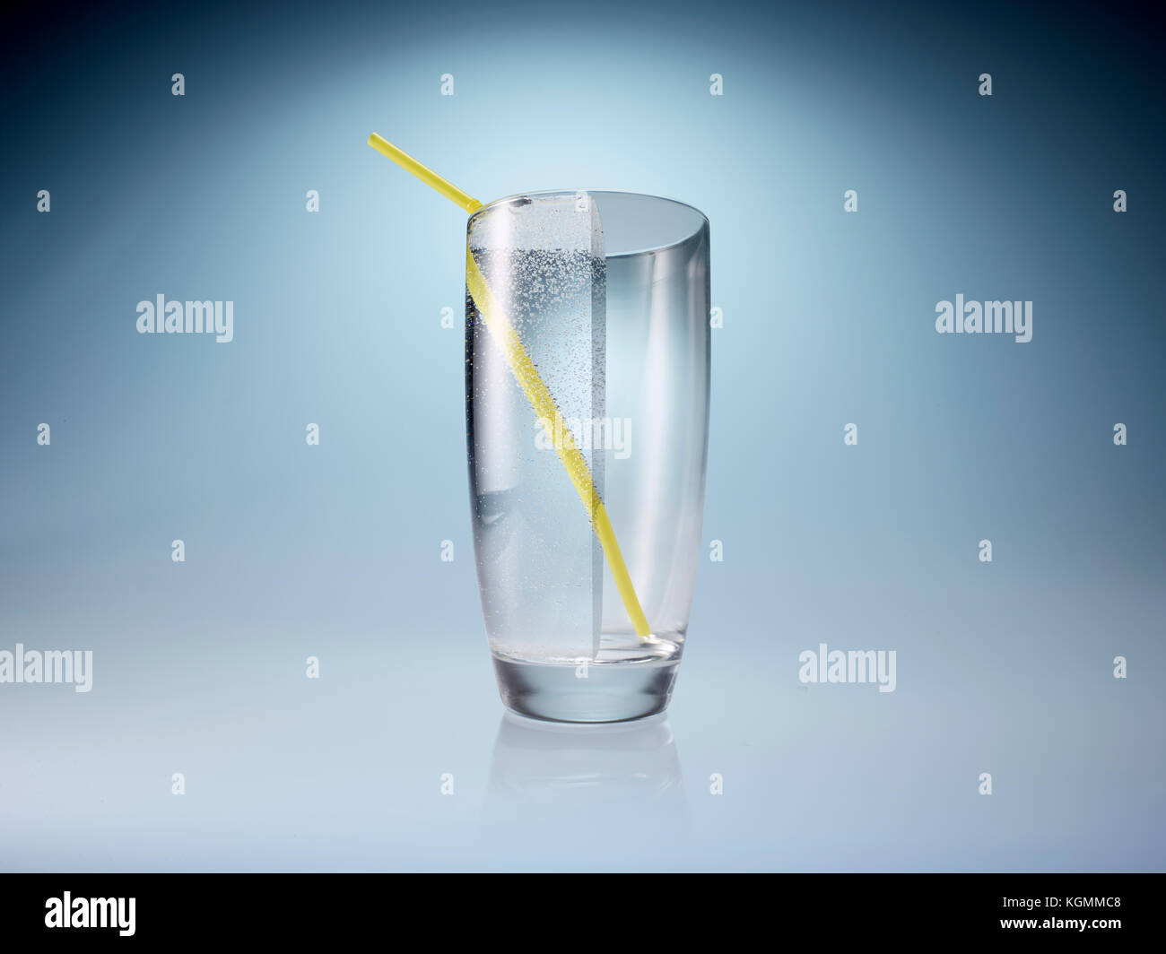 Glass half full or half empty - Stock Image