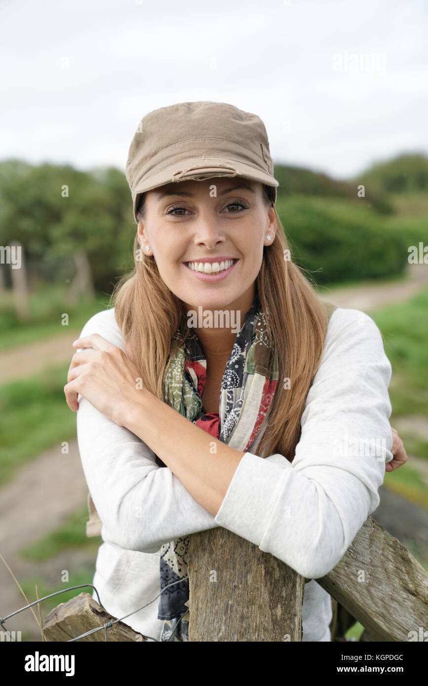 Portrait of woman on a trekking day - Stock Image