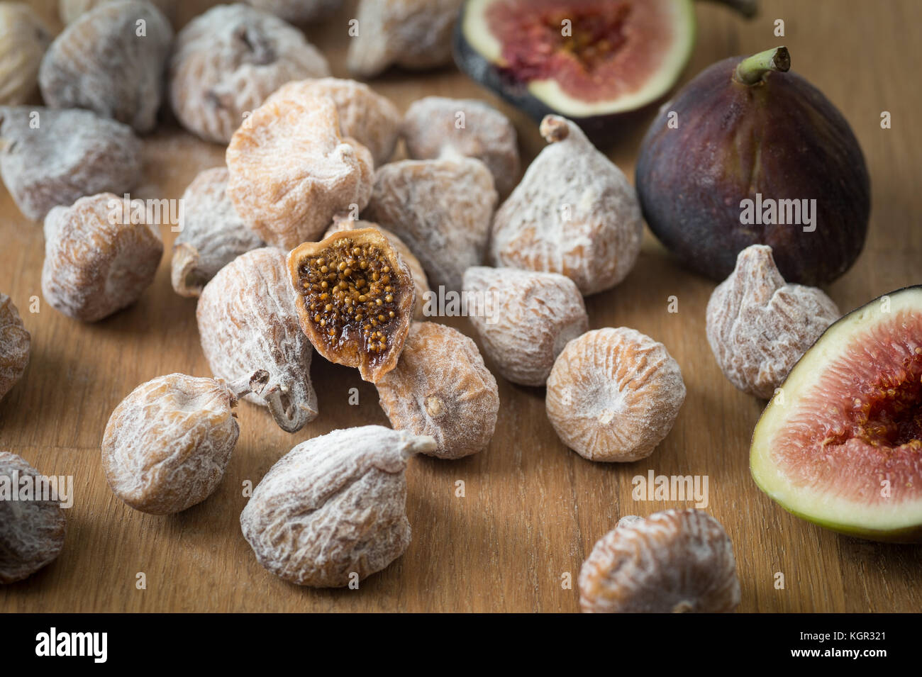 Organic dried and fresh figs. - Stock Image