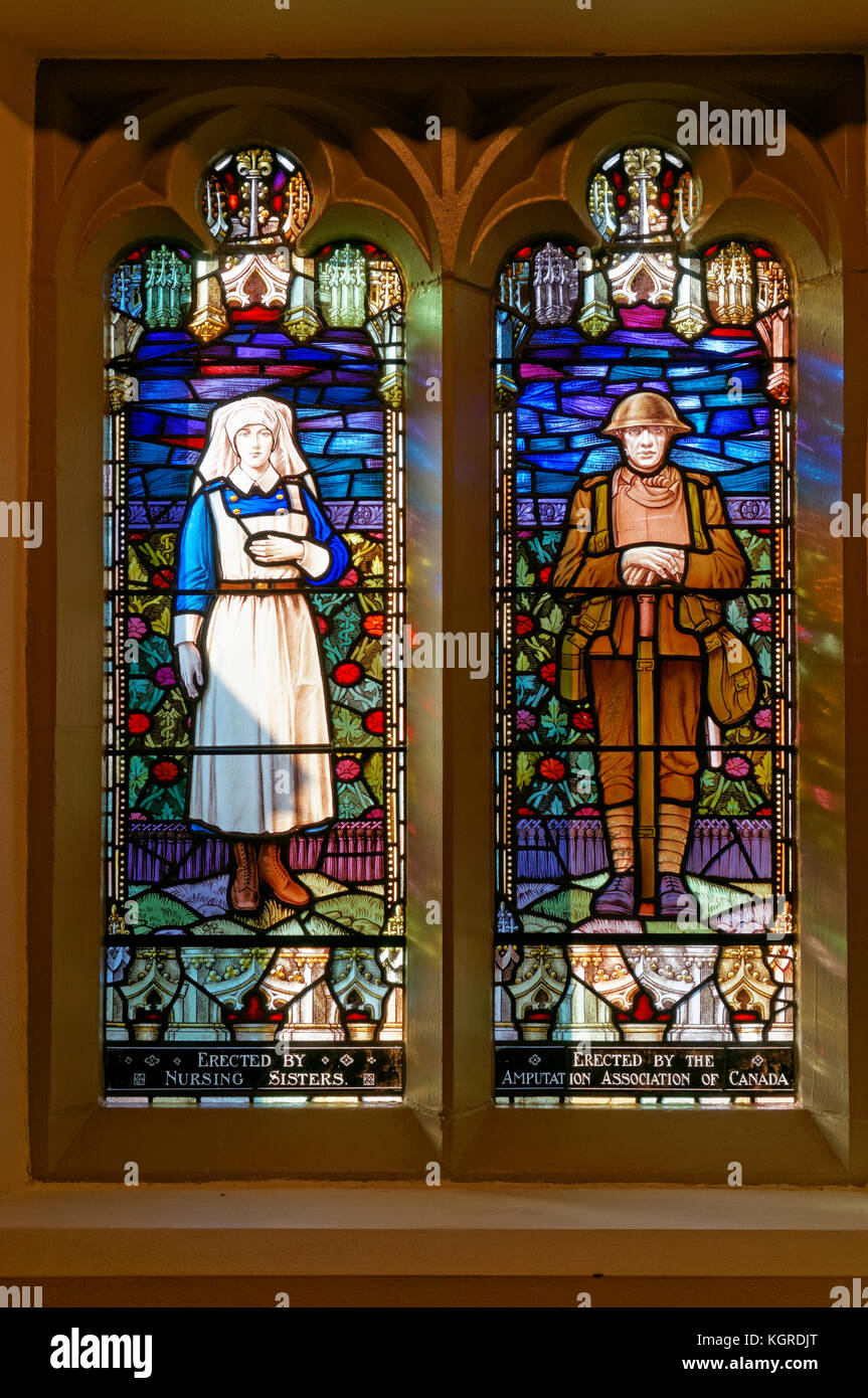 Memorial stained glass windows of a Canadian World War I soldier and nurse in the Canadian Memorial United Church, Stock Photo
