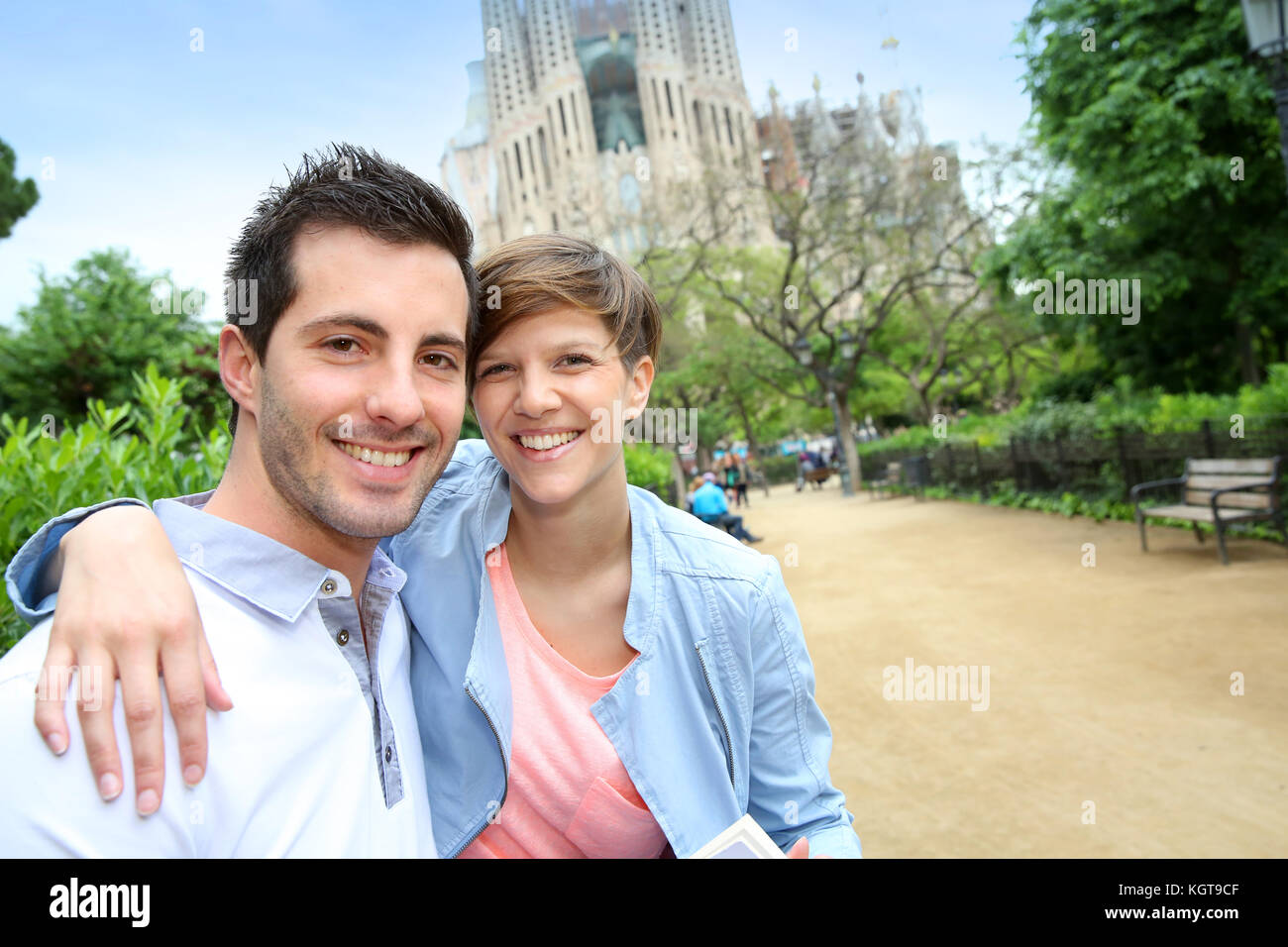 Portrait of cheeful couple in Barcelona - Stock Image