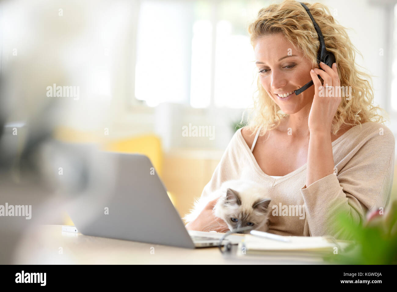 Woman working from home-office - Stock Image