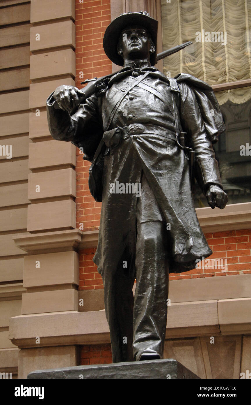 1st Regiment Infantry National Guard of Philadelphia or Spirit of '61. Bronze statue by the American sculptor - Stock Image