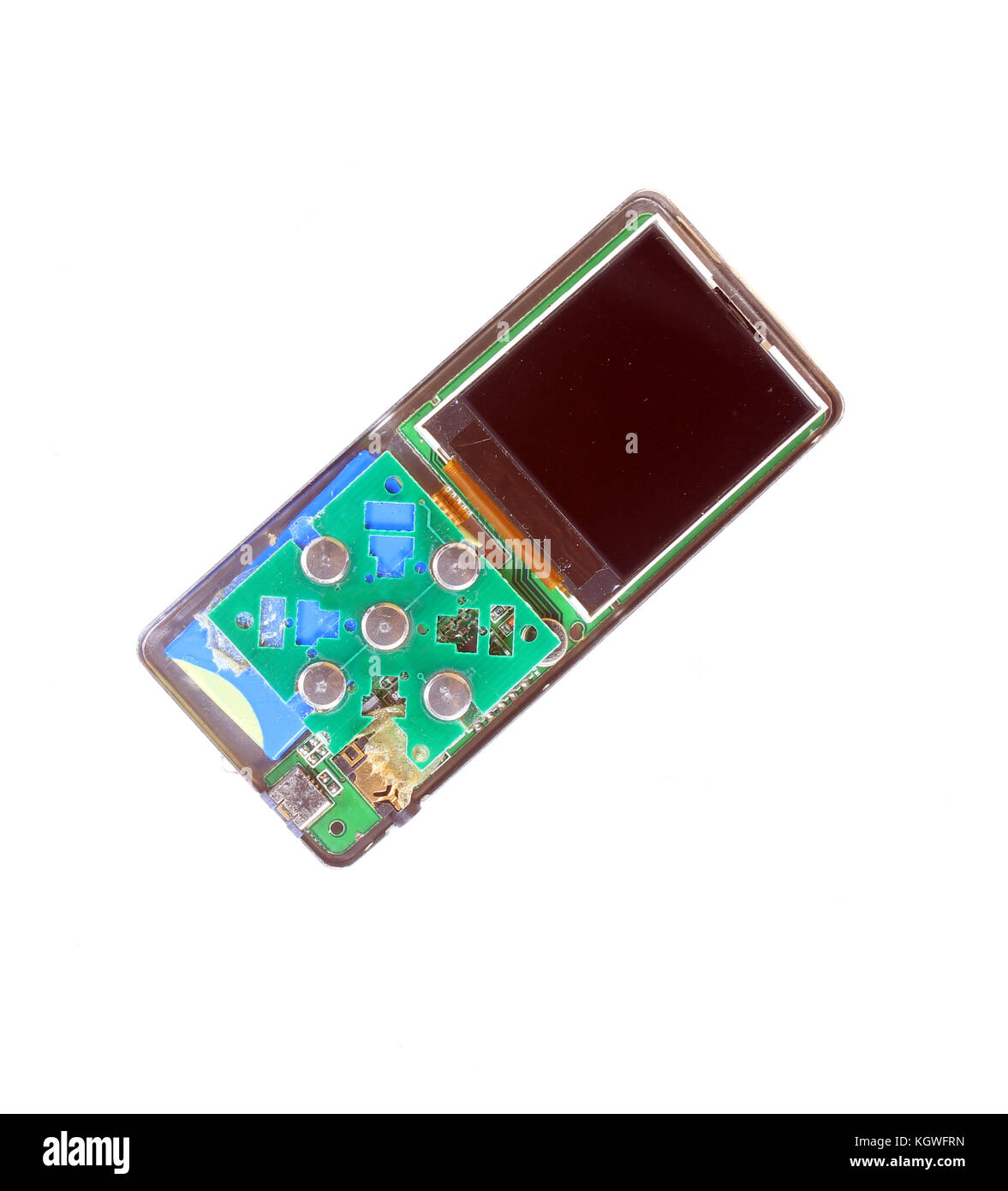 A stripped MP3 player showing its circuitry and buttons with lcd screen. - Stock Image