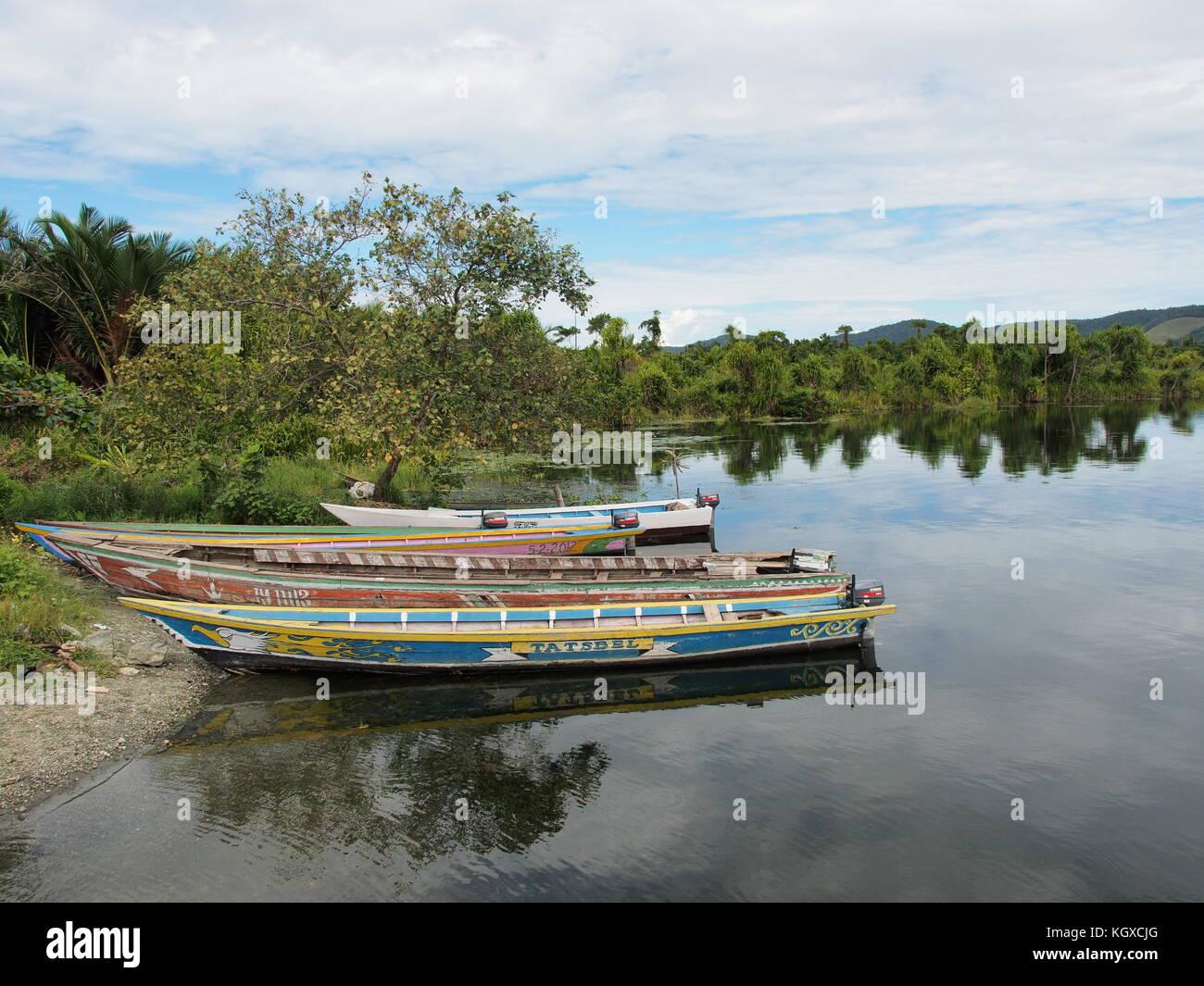 Colorful boats at Lake Sentani, Papua - Stock Image