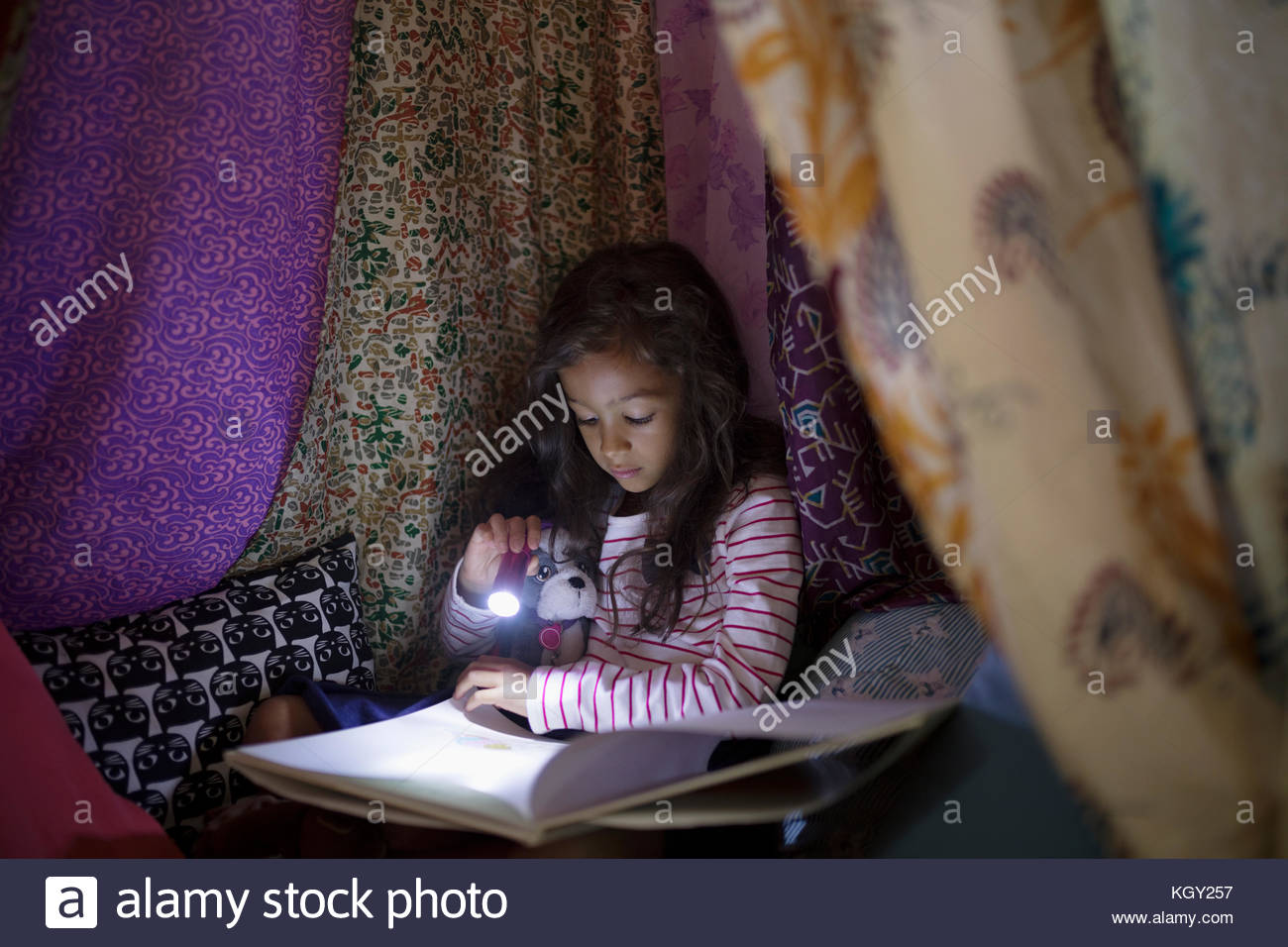 Bedtime story stock photos bedtime story stock images alamy girl with flashlight reading bedtime story in tent at night stock image sciox Gallery